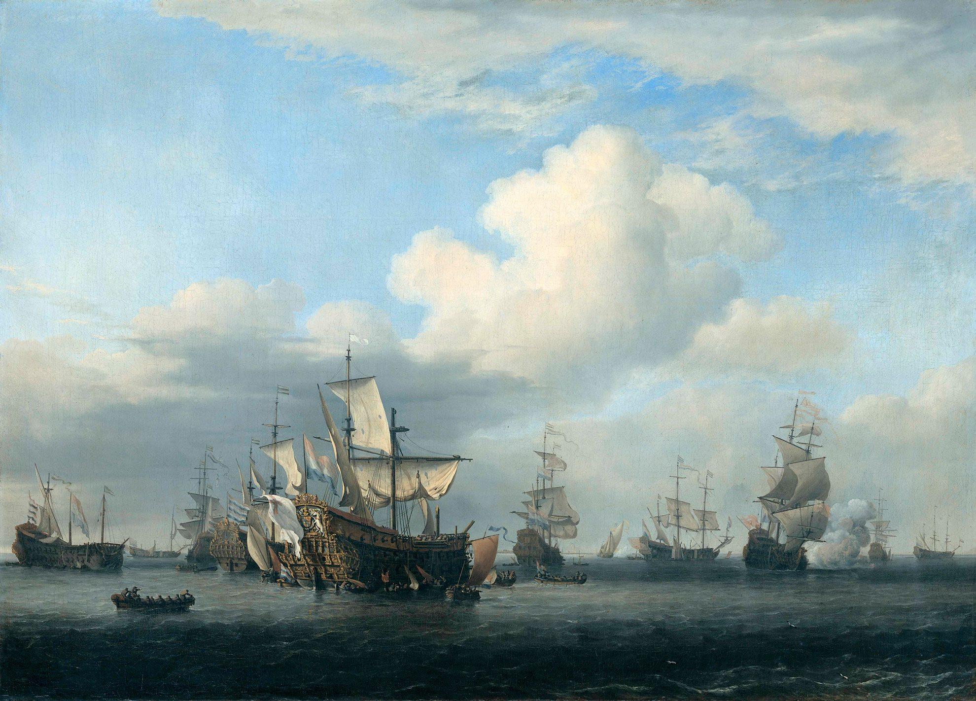 HMS Swiftsure - 70 działowy okręt liniowy III klasy. Okręt flagowy Admirała Penn'a podczas bitwy o Jamajkę. Obraz przedstawia utratę okrętu podczas Bitwy Czterodniowej z Holendrami.